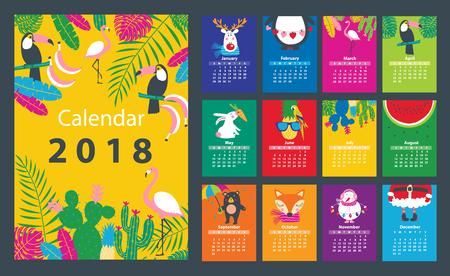 Calendario 2018 a partir del domingo. Ilustración vectorial
