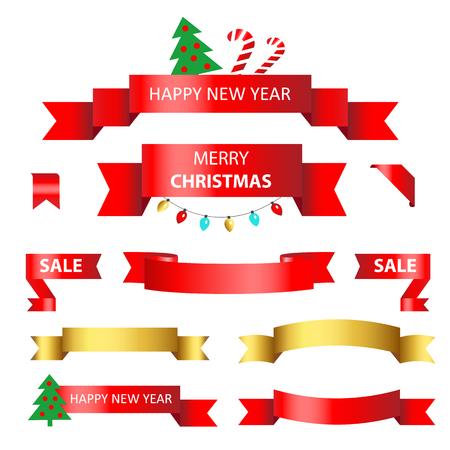 Set Christmas ribbon. Vector illustration