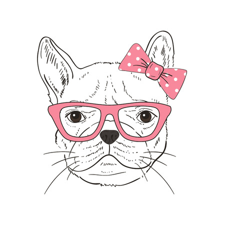 French Bulldog  hand-drawn poster. Vector illustration Illustration