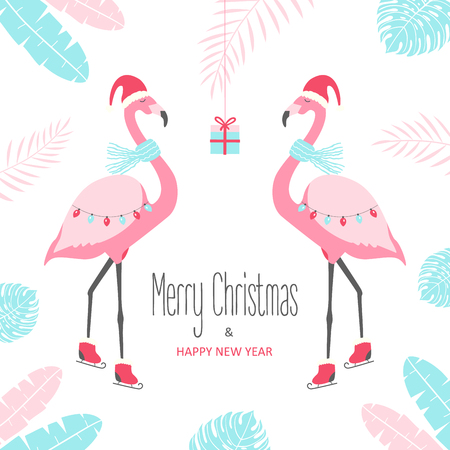 Christmas card with flamingo. Vector illustration Vettoriali
