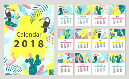 Calendar 2018 starting from Sunday. Vector illustration Stock Vector - 89947903