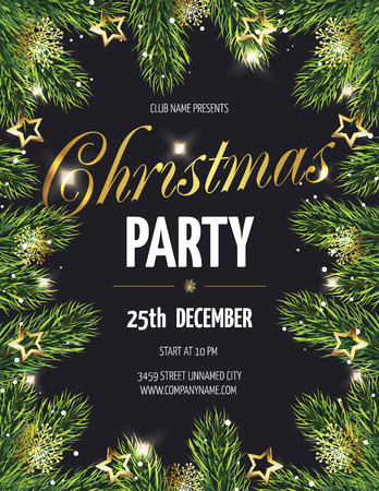 Ð¡hristmas party poster with fir branches. Vector illustration eps 10  Illustration