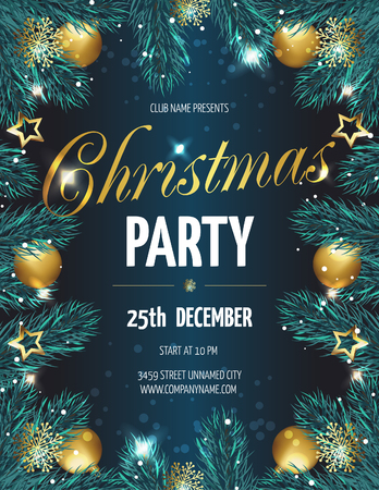 Ð¡hristmas party poster with fir branches. Vector illustration eps 10