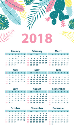 Calendar 2018 starting from Sunday. Vector illustration