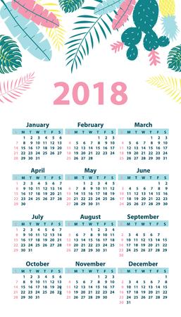 Calendar 2018 starting from Sunday. Vector illustration