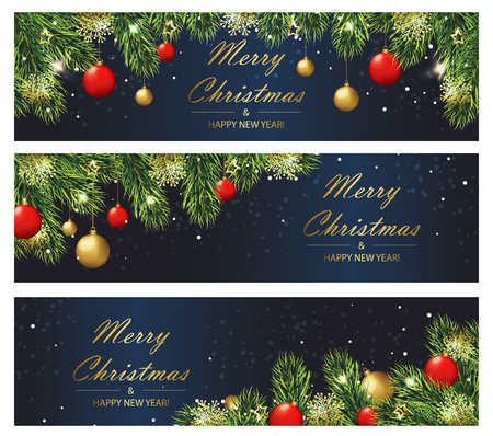 Christmas and New year banners with fir branches and balls. Vector illustration eps 10