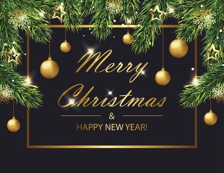 Carta natale e Capodanno con rami di abete e palline. Illustrazione vettoriale eps 10