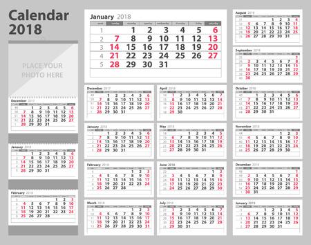 カレンダー2018は日曜日から始まります。ベクトルイラスト