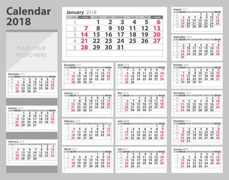 Calendar 2018 starting from Sunday. Vector illustration Stock Vector - 91171949