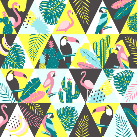 Patchwork pattern with tropical birds. Vector illustration