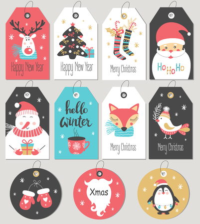 Set of Merry Christmas and New Year gift tags and cards. Vector illustration