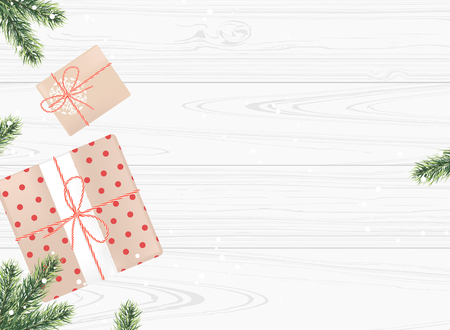 Gifts boxes with fir branches on a white wooden background. Top view Vector illustration