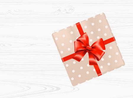 白い木製の背景に赤い弓を持つギフトボックス。トップビュー ベクトルイラスト