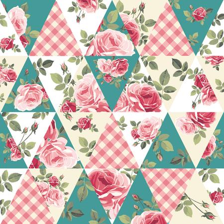 Lapwerkpatroon met rozen Vectorillustratie Stock Illustratie