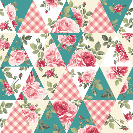 Patchwork pattern with roses Vector illustration Vettoriali