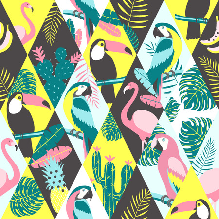 Patchwork pattern with tropical birds Vector illustration