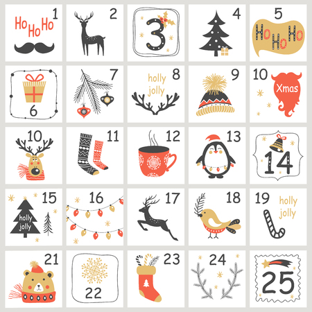 Christmas Advent calendar with hand drawn elements. Xmas Poster Vector illustration