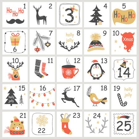 Calendario dell'avvento di Natale con elementi disegnati a mano. Illustrazione di vettore del manifesto di natale
