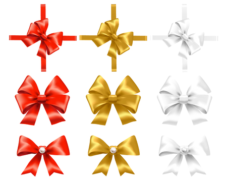 Set of red, gold and white bows Vector illustration