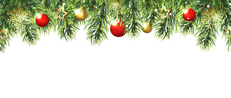 Christmas border with trees, red and gold balls and stars isolated on white background. Vector illustration eps 10