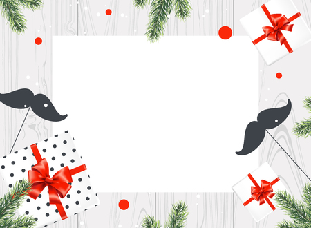 Gifts boxes with red bow, mustaches and fir branches on a white wooden background. Retro style Top view Vector illustration