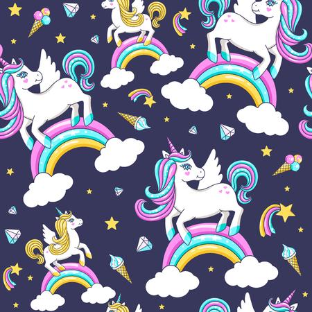 Seamless pattern with cute unicorns. Vector illustration