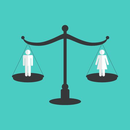 Concetto di uguaglianza di genere. Illustrazione vettoriale Vettoriali