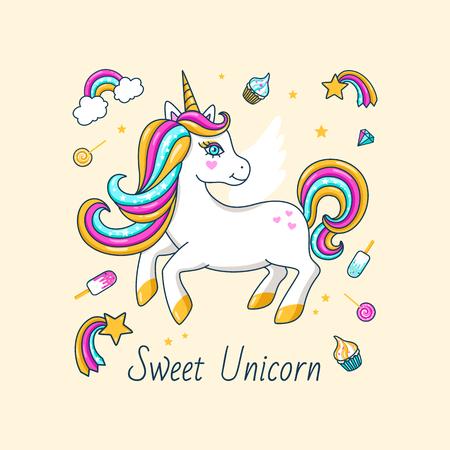White cute unicorn with inscription - Sweet unicorn. For print design. Vector  Illustration Иллюстрация