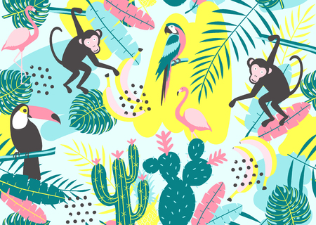 Tropical seamless pattern with toucan, flamingos, parrot, monkey, cactus  and exotic leaves. Vector illustration Ilustração