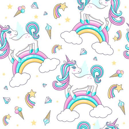 Seamless pattern with cute unicorns. Vector illustration Vettoriali