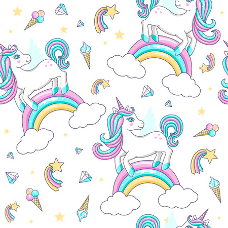 Seamless pattern with cute unicorns. Vector illustration Vectores