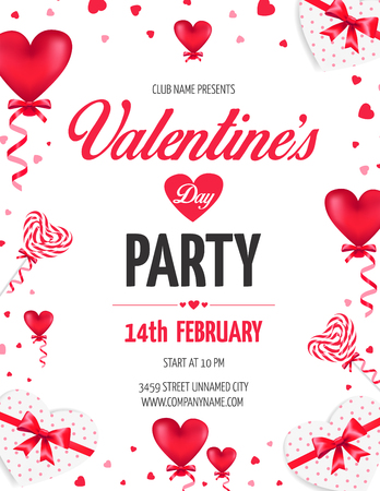 Valentine's Day Day party flyer with red heart shaped ballons and lollipops. Vector illustration