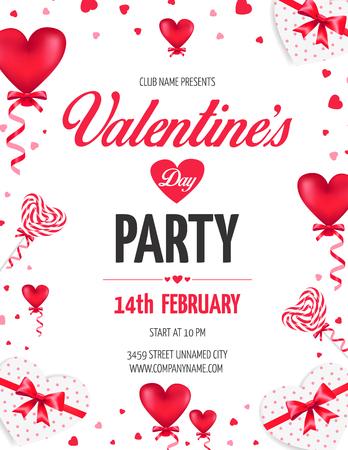 O insecto do partido do dia do dia de Valentim com coração vermelho deu forma a ballons e a pirulitos. Ilustração vetorial