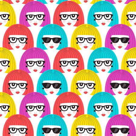 Girl faces seamless pattern. Vector illustration