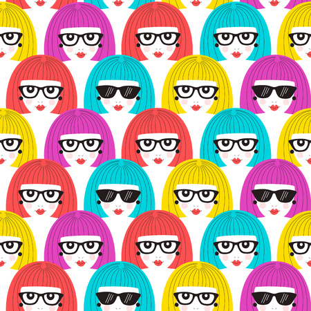 Girl faces seamless pattern. Vector illustration