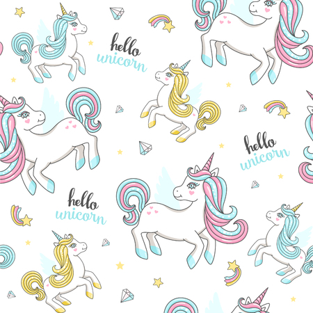 Seamless pattern with cute unicorns. Vector illustration
