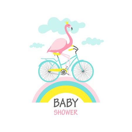 Scheda dell'acquazzone di bambino. Fenicottero in bicicletta. Illustrazione vettoriale Archivio Fotografico - 93936785