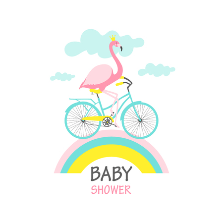 Baby Shower card. Flamingo on a bicycle. Vector illustration