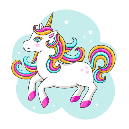 White cute unicorn. Vector illustration Çizim