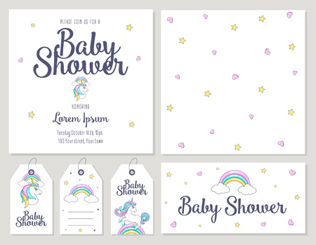 Baby Shower card with cute unicorn. Vector illustration