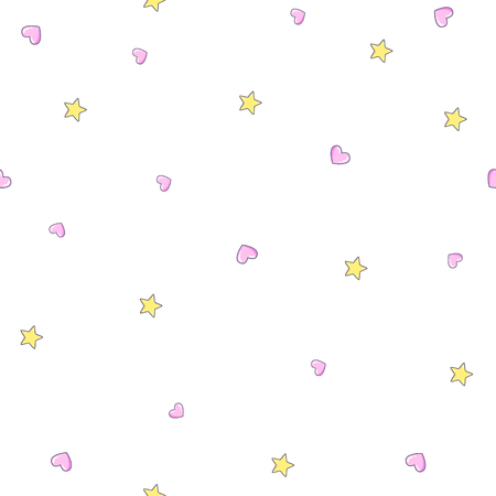 Baby seamless  pattern with stars and heart. Vector illustration