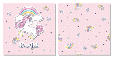 Greeting card its a girl with unicorn on a pink background. Vector illustration