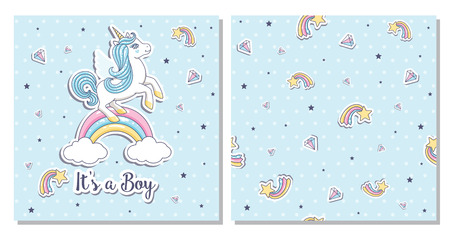 Greeting card its a boy with unicorn on a blue background. Vector illustration