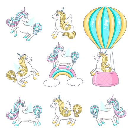 Conjunto de lindos unicornios. Ilustración vectorial