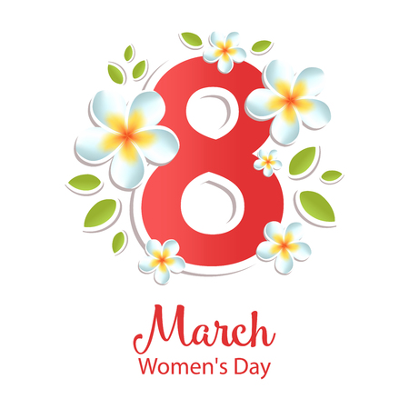 8 March greeting card with flowers. International Womens day. Vector illustration. Ilustração