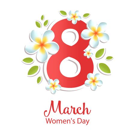 Carte de voeux du 8 mars avec des fleurs. Journée internationale de la femme. Illustration vectorielle. Banque d'images - 96683386