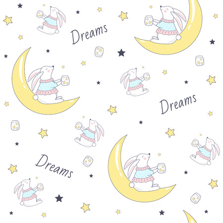 Seamless pattern with bunny on the moon. Vector Illustration
