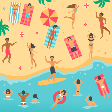 Vector cartoon flat illustration with people on the summer beach.