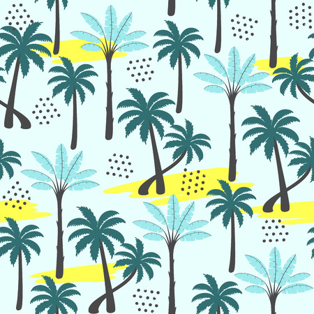 Palm tree seamless pattern on light background. Vector illustration.