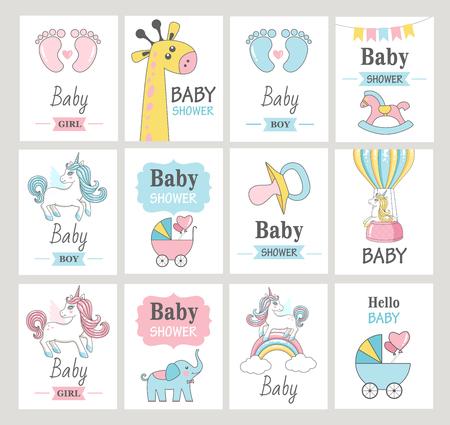 Set baby shower wenskaarten. Vector illustraties Stockfoto - 96683418